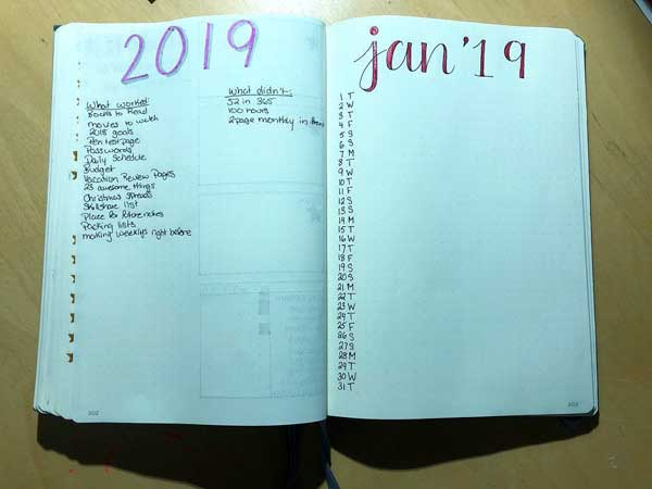 Bujo migrating tasks to next year