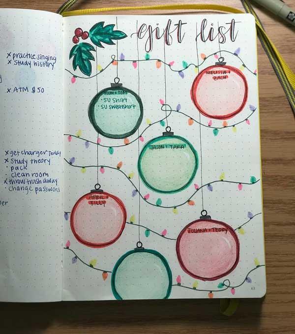 Bujo gift list