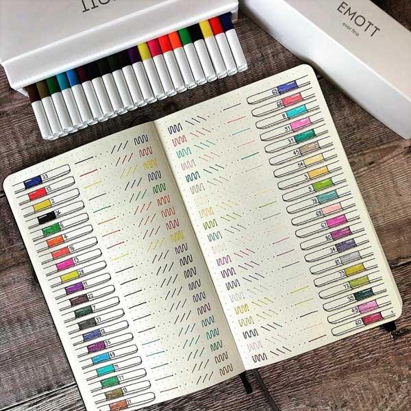 Fineliner pen test swatch