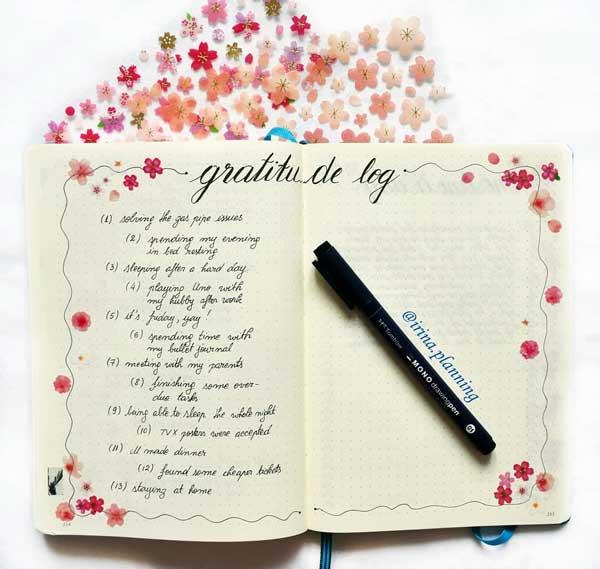 BuJo gratitude page