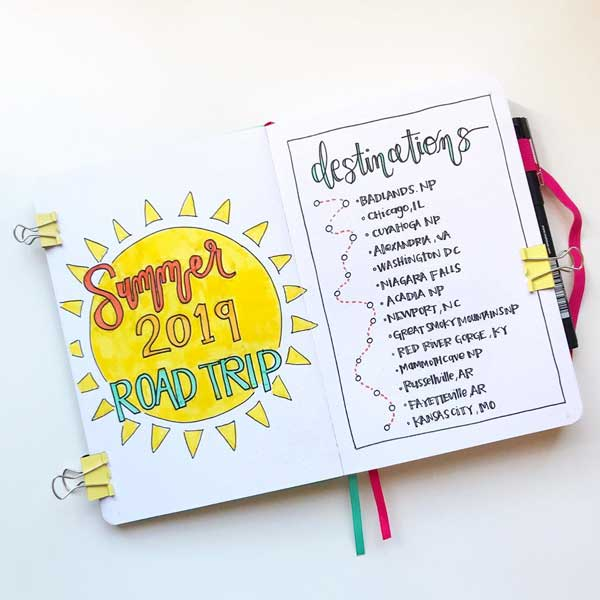 Bujo road trip travel list