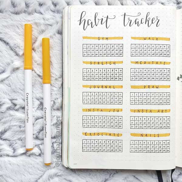 Habit tracker simple layout