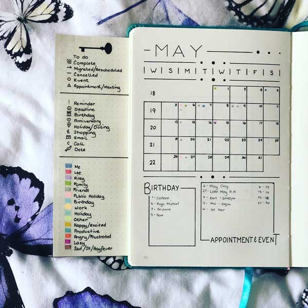 Bullet journal flip out key page with color codes