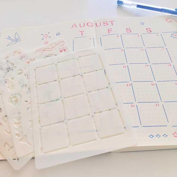 Bujo planner grid stencil