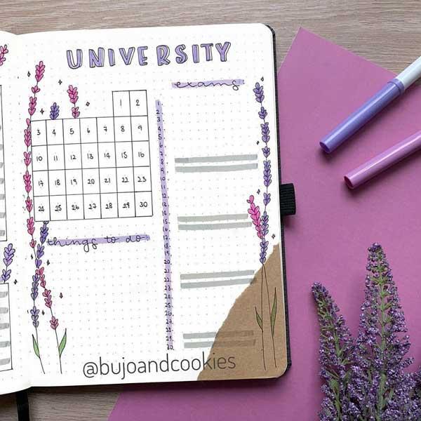 Bujo University exams calendar page spread