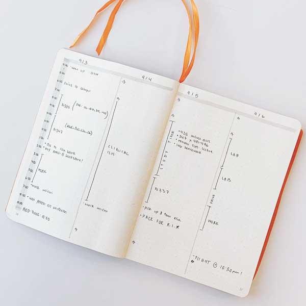 Minimal planner layout