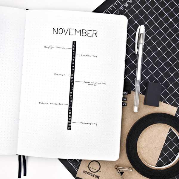 Minimal calendar linear layout for November
