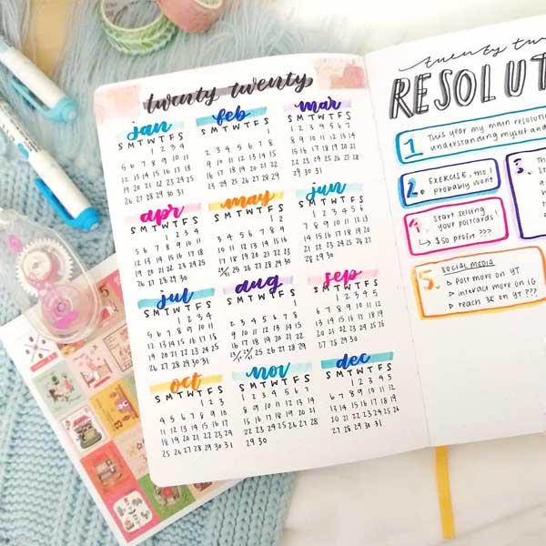 Colorful 2020 full year calendar