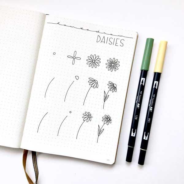 Daisies doodle tutorial