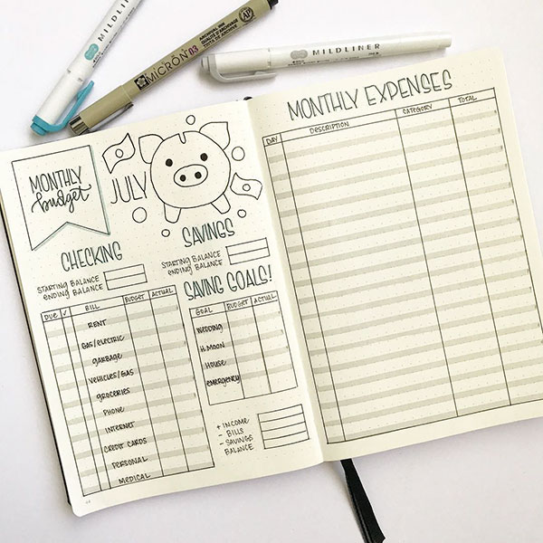 Monthly budget planning template