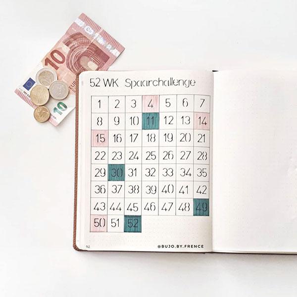 52 week saving challenge bujo layout
