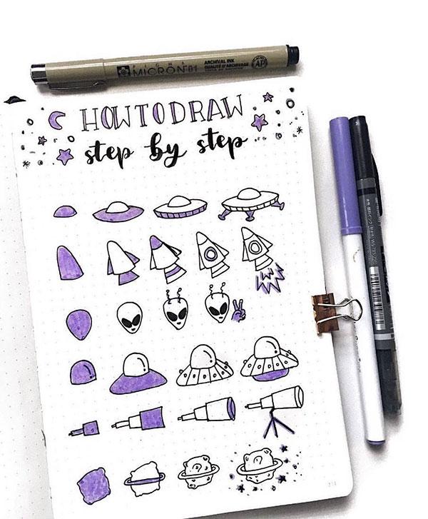 Extra terrestrial step by step doodles
