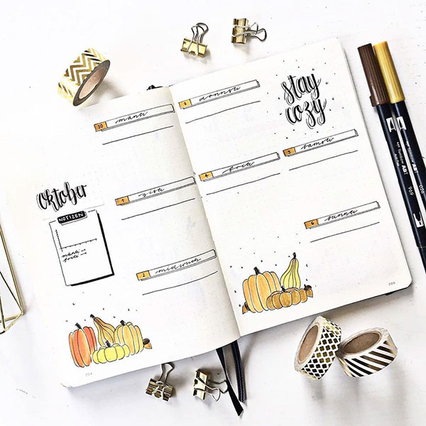 Pretty Autumn weekly page