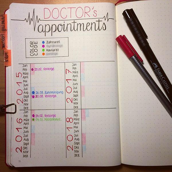 Bujo Doctor appointment tracker spread