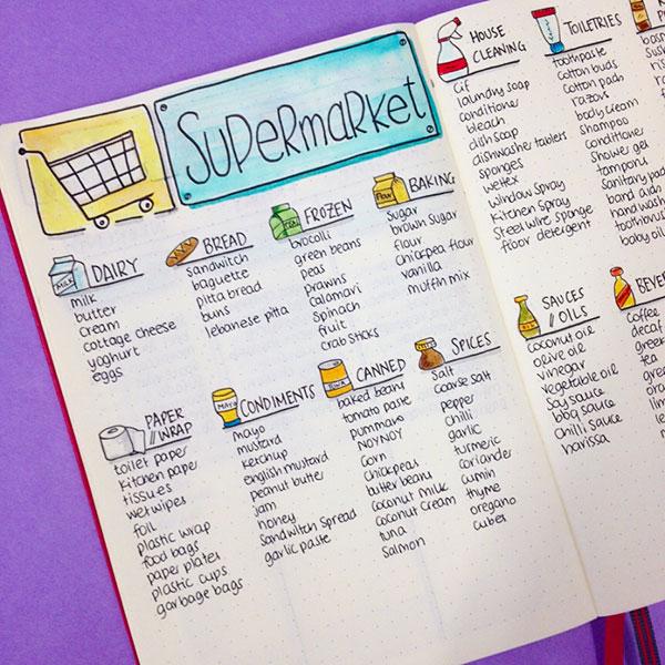 Bullet Jopurnal shopping list spread