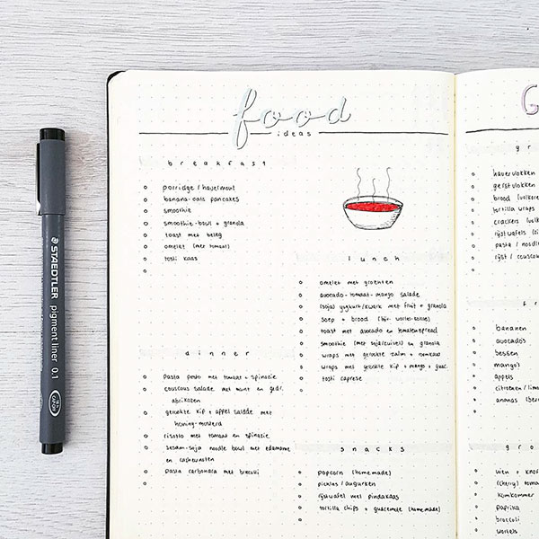 Food ideas bujo spread