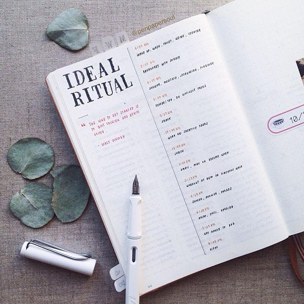 Daily ideal ritual / routine Bujo spread