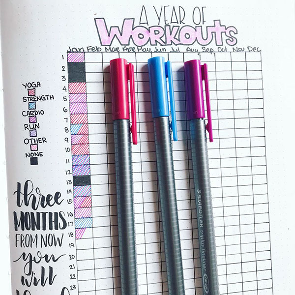 Yearly workout tracker spread