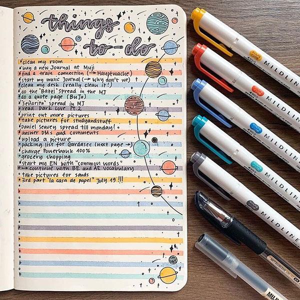 bullet journal to-do list spread