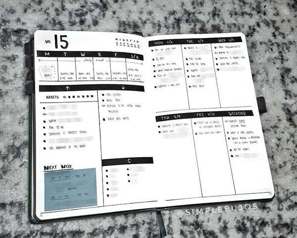 Minimal bujo with events, tasks, habits and daily schedule